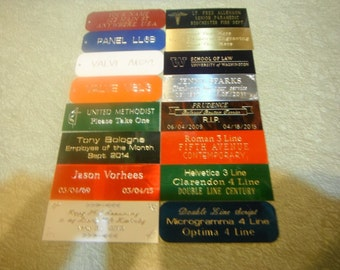 """Custom Engraved 1""""x3"""" Brass / Aluminum Name Plates for Plaques, Awards & More"""