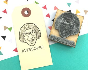 Personalized face stamp with text- custom portrait rubber stamp-  teacher, a co-worker present or a gift for the boss. Ships free in Canada