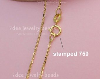 Solid 18k Italy yellow gold chain 750 for pendant, 16inches 40.5cm solid gold italy chain necklace. No. 51