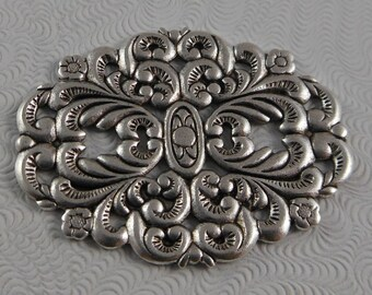 LuxeOrnaments Antique Silver Filigree Oval Floral Focal Medallion (Qty 1) G-06699-B