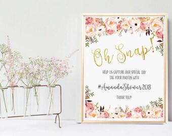 Help us capture the love, Oh Snap, Social Media Wedding Sign Printable, Instagram Wedding Sign, gold glitter sparkle, hashtag wedding sign