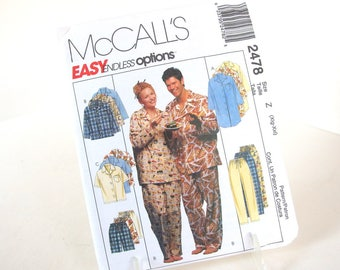 UNCUT Unisex Nightshirt or Top and Pull On Pants or Shorts Pattern McCall's 2478, Sizes XL, XXL