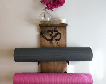 Double Yoga Mat Holder and Shelf with Custom Wood Burn Design - One of a Kind Wall Mounted Yoga Mat Rack