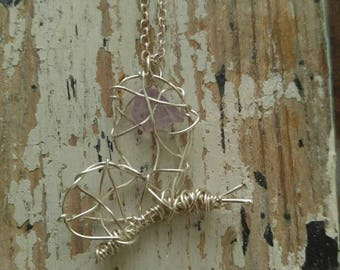 Wire Wrapped Purple Butterfly