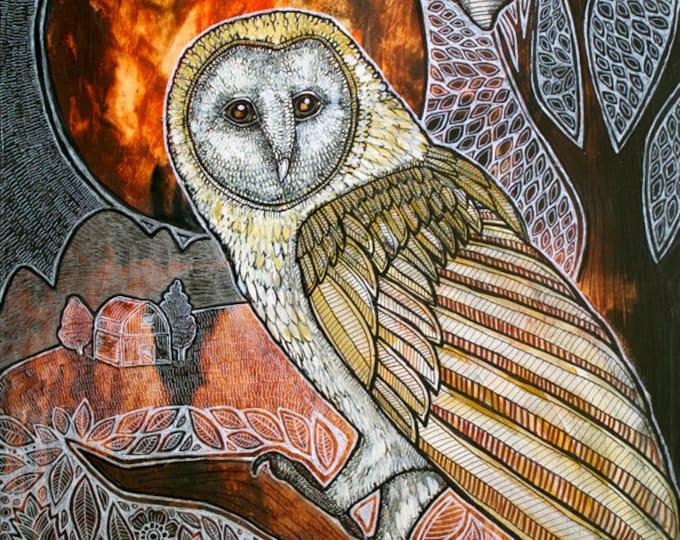 Owl and Bat Original Animal Artwork by Lynnette Shelley