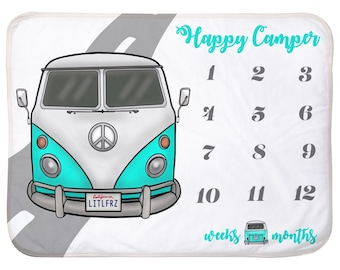 Baby Milestone Blanket Turquoise Hippie Bus Personalized Baby Blanket Track Growth and Age New Mom Car Baby Shower Gift Vintage Camper Van