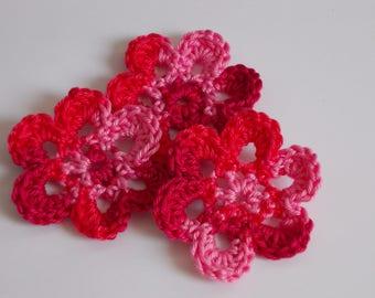 3 large Crochet Flowers 6.5 cm-Catalin