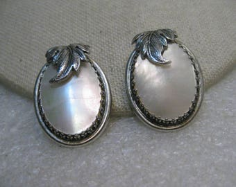 "Whiting & Davis MOP Clip Earrings, Silver Tone, Leaf Accent, 1.5"", 1960's"
