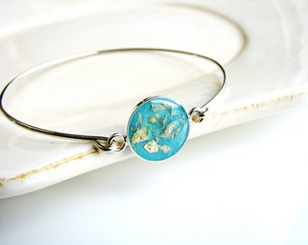 Blue Resin and Gold Flake Bracelet, Resin Jewelry, Bangle Bracelet, Bracelet Stack, Stacking Bracelet, Modern Jewelry, Minimalist