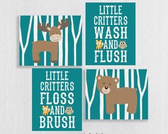 Woodland Bathroom Art Prints Set of 4 - Woodland Bathroom Decor - Woodland Animals - Wash Brush Floss Flush - CabinBathroom Art Kids