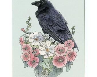 Raven with Hollyhocks - 5x7 Mini Print