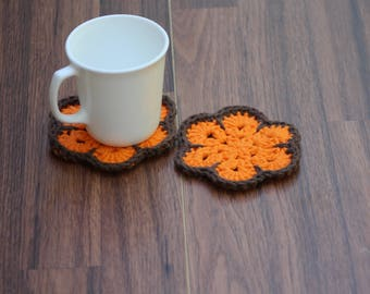 Crochet coasters, reusable coasters, , Mug Rugs, Small crochet doilies, gift mom gift, African flower coasters, coffee gift, hostess gift