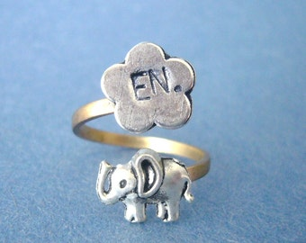 personalized elephant ring with a flower, adjustable ring, animal ring, silver ring, statement ring