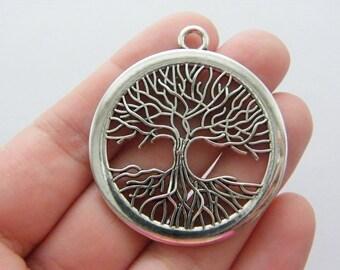 BULK 10 Tree charms antique silver tone T12
