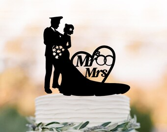 police Wedding Cake topper of people cake topper mr and mrs,  silhouette wedding cake topper figurine, topper for wedding cake topper heart