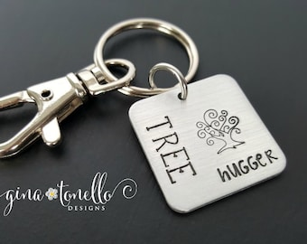 Tree Hugger Keychain, Activist Keychain, Vegan Gift, Hippie Gift, Nature Lover Gift, Liberal Keychain, Gift for Democrat, Anti-Trump, Resist