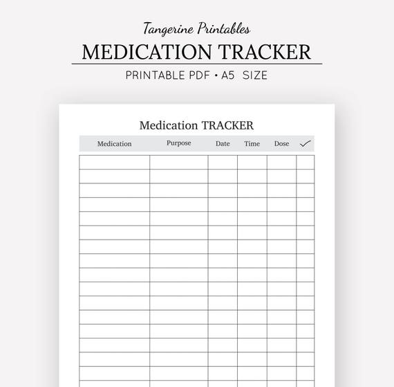 Comprehensive image within printable medication log