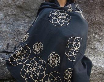 Black Seed of Life Scarf, Sacred Geometry Gold Printed Flower of Life Meditation Shawl Mandala Festival Sarong - K601