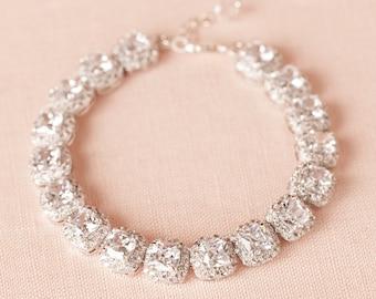 Bridal Bracelet, Crystal Wedding Bracelet, Bridal Jewelry, Rose gold, Gold, Cushion Cut Bracelet, Swarovski, Molly Halo Crystal Bracelet