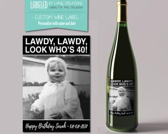 40 birthday label - 40th birthday gift - milestone label - birthday wine - custom birthday wine label - personalized label - photo gift