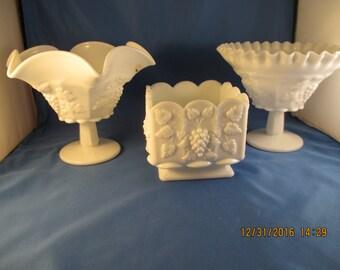 Lot Vintage Milk Glass WESTMORELAND PANELED GRAPE  Vases