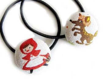 Button Ponytail Holders - Red Riding Hood and Wolf