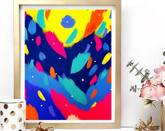 Fireworks 02 - Art Print | Acrylic Painting | Glossy Print | Home Decor | Artwork | Gift for her | Art and Design