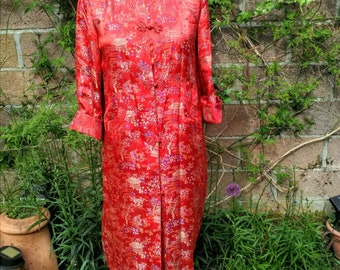 Chinese lined silk coat, mandarin collar, red and blue. 3/4 length sleeves