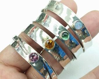 Vintage Handmade Sterling Silver Napkin Rings Set With Color Gemstones Signed
