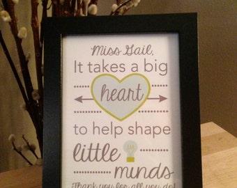 "Custom Framed & Matted - ""BIg Heart"" Art Print - Personalized Teacher, Daycare, Childcare Provider Gift / Room Decor. Various Sizes"