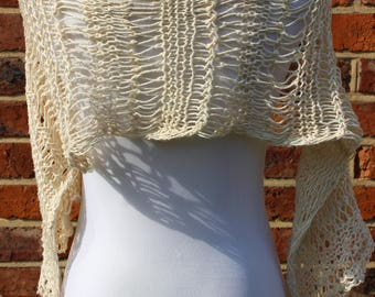 Boho chic finger knitted vintage cream cotton yarn loose knit scarf / shrug made to order