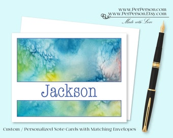 Free Ship!  Set of 12 Personalized / Custom Notecards, Boxed, Blank Inside, Blue, Green, Yellow, Monogram, Name, Initials