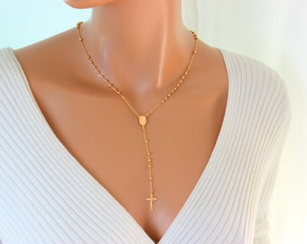 Rosary Necklace Gold Filled High Quality Cross Necklaces Women Jewelry Crucifix Pendant Miraculous Confirmation Gift Catholic Rosaries