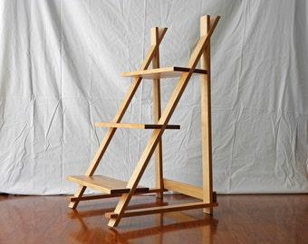 Three Level Wood Shelf   3 Level Wood Shelf - Modern Shelf - Minimalist Furniture - Living Room Organization - Wooden Shelf