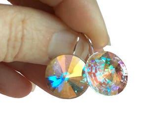 Rainbow Drop Crystal Earring