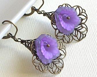 Lavender Flower Earrings - Brass Filigree Lily