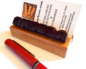 Custom Desk Name / Business Card Holder, Wenge and Cherry Woods, Carved to Order