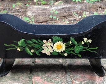 Vintage Black Metal Doll Cradle with Handpainted Flowers