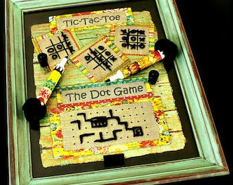FREE SHIPPING, Dry Erase Board Game, Dot Game, Family Game, Coffee Table Game, Grandparent Gift, Family Gift, Tic Tac Toe game, Hangman