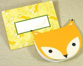 FOX Printable Card Envelope Digital Instant Download Fox Animal Zoo Invitation Stationery Greeting Card Blank Party Children Birthday PDF