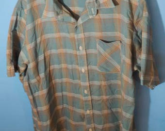 Men's Vintage Button Up Collared Shirt Dynasty Large Plaid Blue Brown