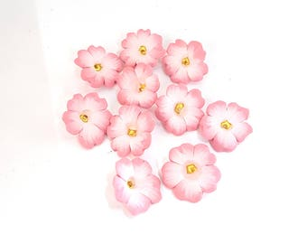 Wild Rose Beads, Prairie Flower, Polymer Clay Beads, Pink Wildflower, 10 Pieces