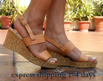 IPHIGENIA sandals/ cork wedge platform/ Greek leather sandal/ platform sandal/ summer sandals/ slingback sandals/ natural beige sandals