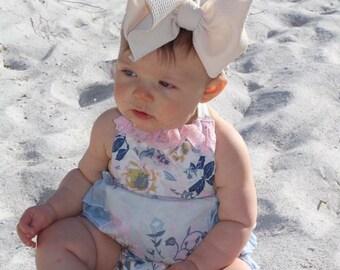 Ruffle Romper - Blue Romper - Floral Romper - Lace Trim Romper - Baby Bodysuit - Halter Top - Bubble Romper - Handmade Romper - Floral
