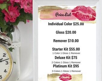 Blush & Gold PRINTABLE LipSense Price list 8 by 10