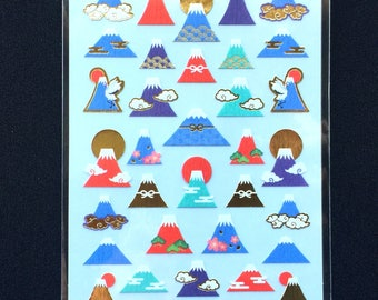 Mount Fuji Stickers - Japanese Stickers - Chiyogami Paper Stickers - Mountain Stickers -  S278