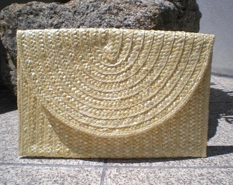 Straw Clutch, Summer purse, handmade purse, bohemian clutch