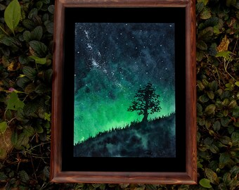 "Pagan art Druid fantasy art ORIGINAL Watercolor painting ""Lonely tree"" Woodland Nature lover gift Wicca Full Night sky Milky way Forest art"