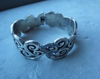 Vintage Silver Plated Clamper Bracelet - Scroll Motif