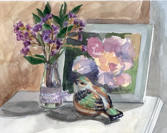 Still Life with bird Original watercolor painting